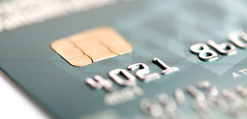 close-up of credit card with chip